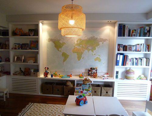 Librería estantería para sala de juegos